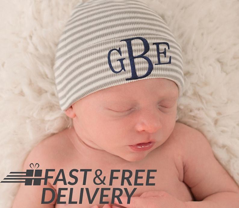 285e5159111 Monogrammed Grey and White Striped Newborn Boy Hospital Hat