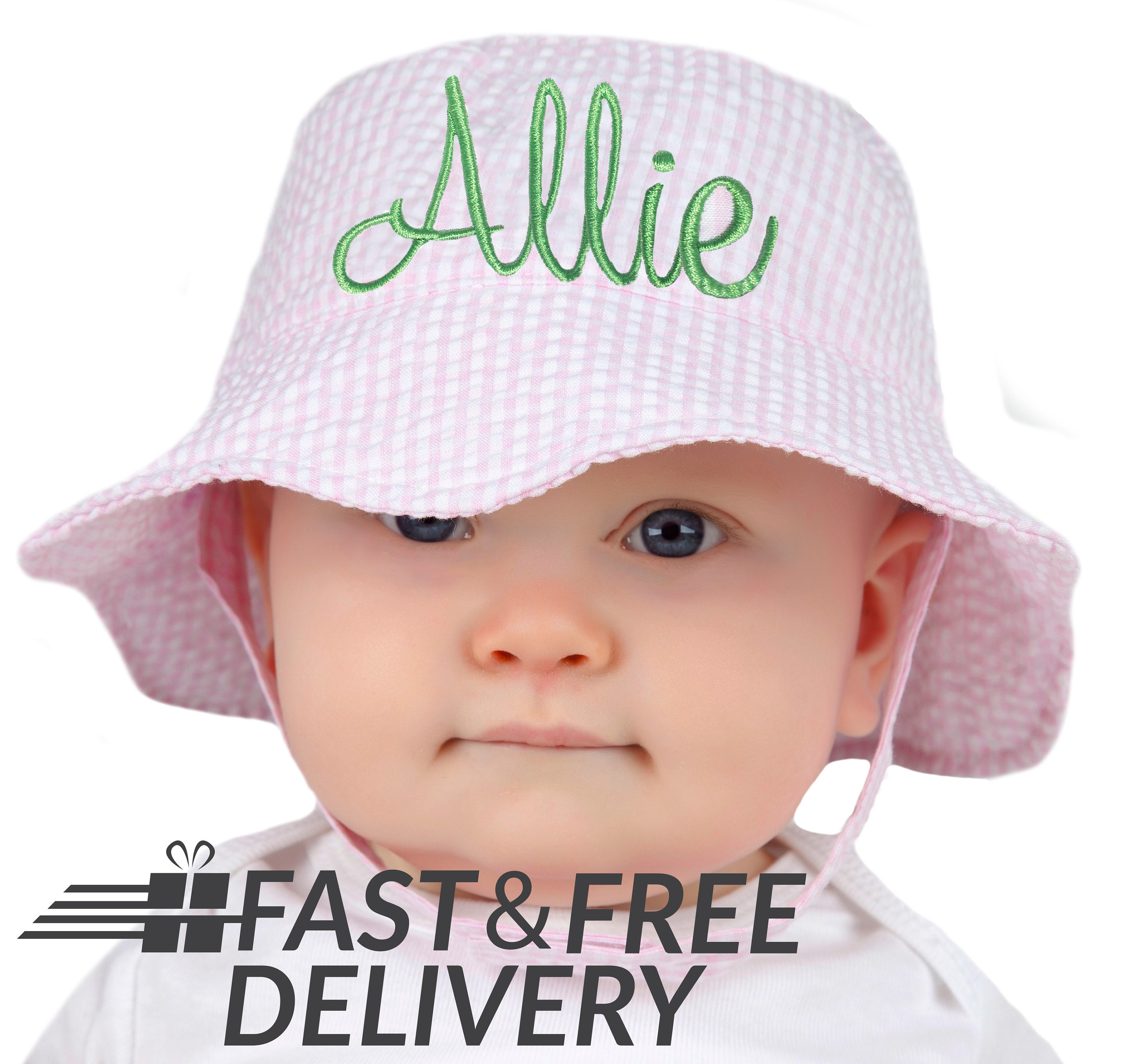 PERSONALIZED Pink   White Seersucker Personalized Sun Hat for  8811153123d6