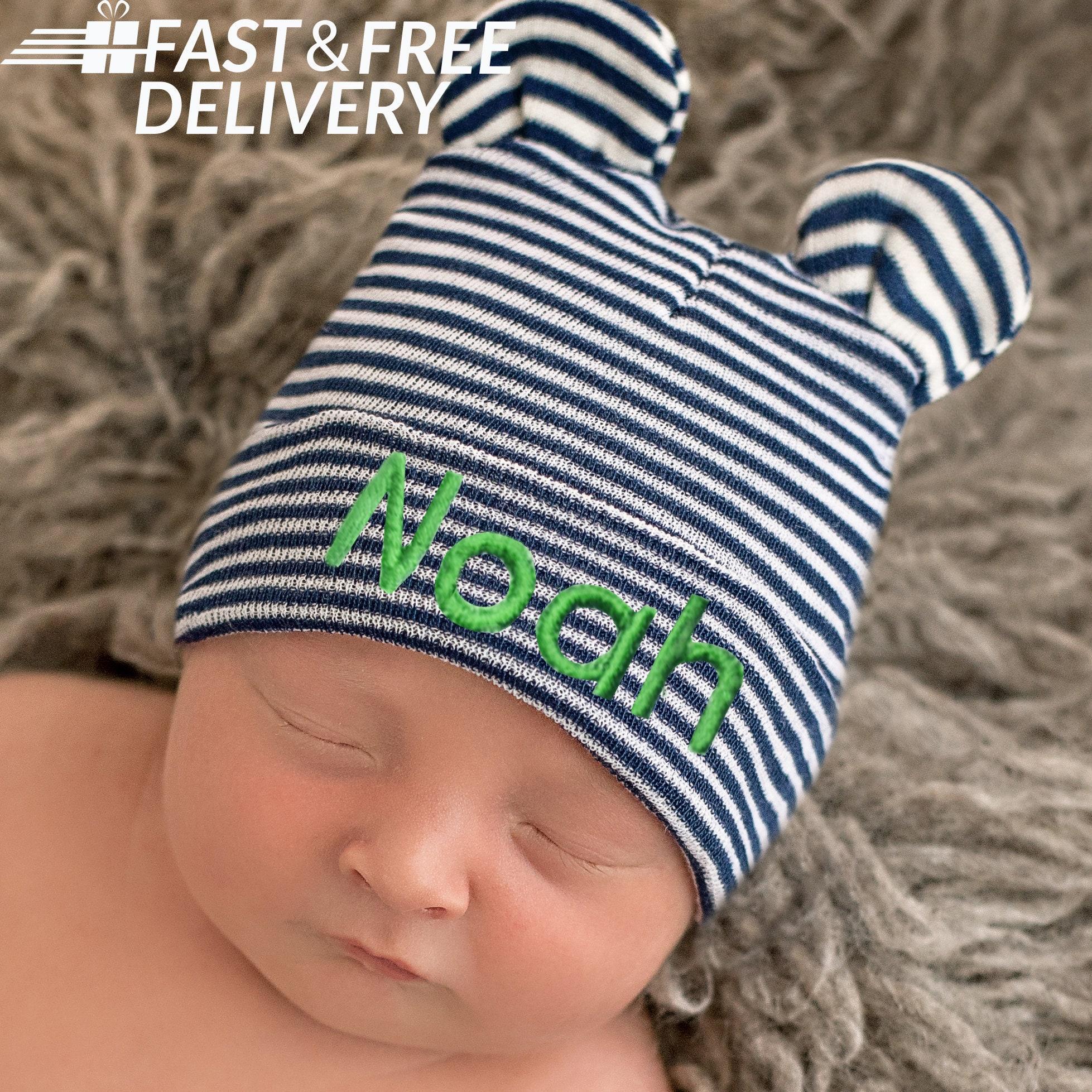 40db97d24 Melondipity Newborn Boy Hospital Hat - Baby Bear Hat - Striped Hospital Hat  - Baby Bear Striped Hat - Navy Blue and White Stripes Newborn