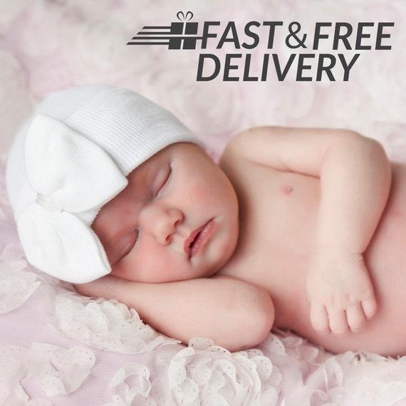 Melondipity Daddys Girl White Big Bow Newborn Girl Hospital Hat