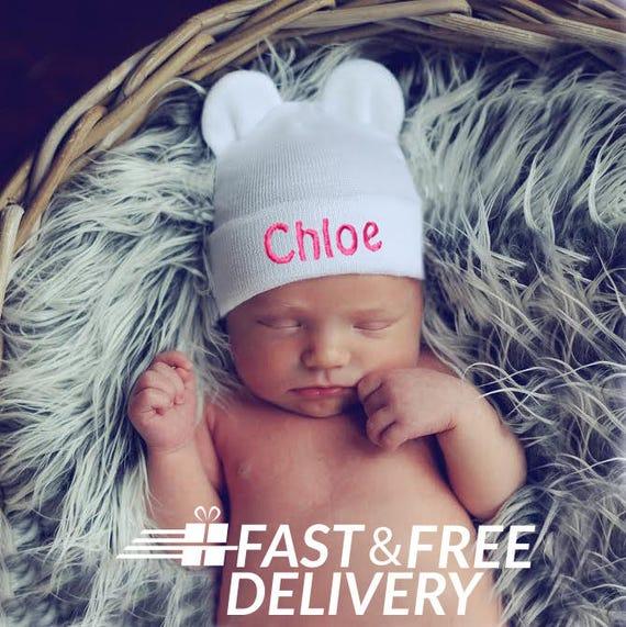 Personalized Newborn Bear Hat White Hospital Hat Baby Girl  aebeeef8bfb