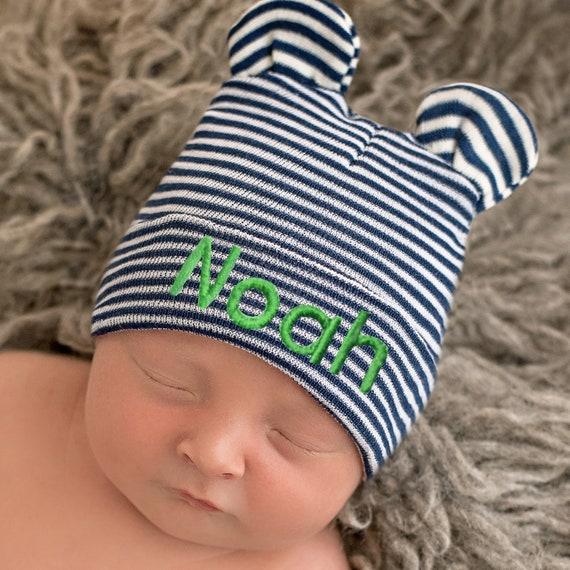 Melondipity Newborn Boy Hospital Hat Baby Bear Hat Striped  fb2ce97d814