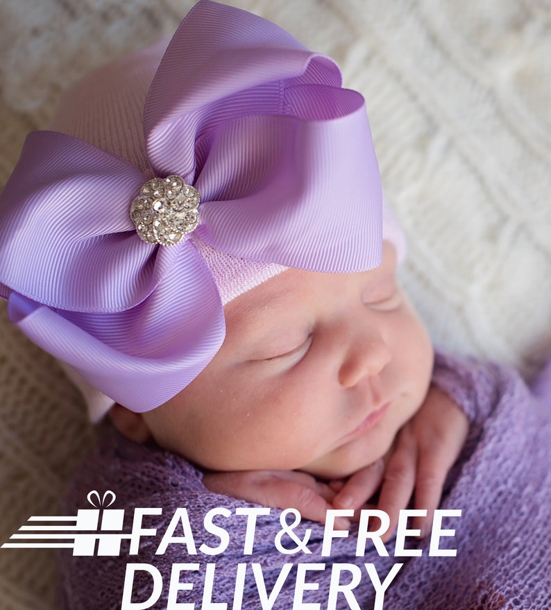 e9e982374 Newborn Girl Hospital Hat - Pink OR White hat with Purple Big Bow and  Rhinestone - Baby Girl Hat - Hospital Hat - Newborn Girl Bow Hat