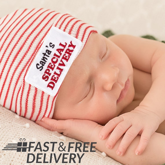 df0292b517e Melondipity Santa s Special Delivery Newborn Hospital Hat