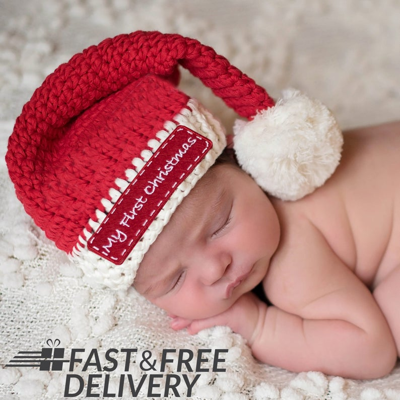 d7babdc4b1653 Baby s First Christmas Santa Hat Red and White Christmas