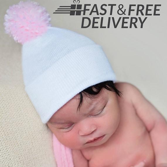 Baby Crochet Cappello Ragazzo Bianco /& Baby Blue Pon Pon Fatto A Mano