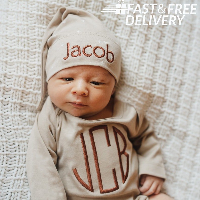 100/% Organic Cotton Tan Monogrammed Onesie with Personalized Knot White Star Newborn Hat