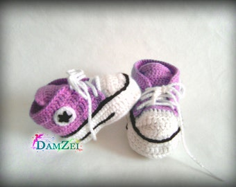 Lilac Crochet Baby Sneakers, Newborn Converse Shoes, Infant Crochet Booties, Girl Shoes, Boots for babies, Baby shower gift choose size