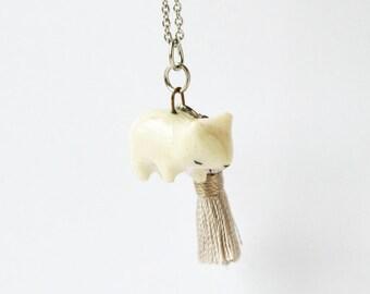 Ceramic Bear Necklace w. Satin Grey Tassel - OOAK handmade, spirit animal necklace, spirit animal, miniature, animal figurine, bear figurine