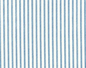 "72"" Shower Curtain, Sky Blue Ticking Stripe, Unlined"