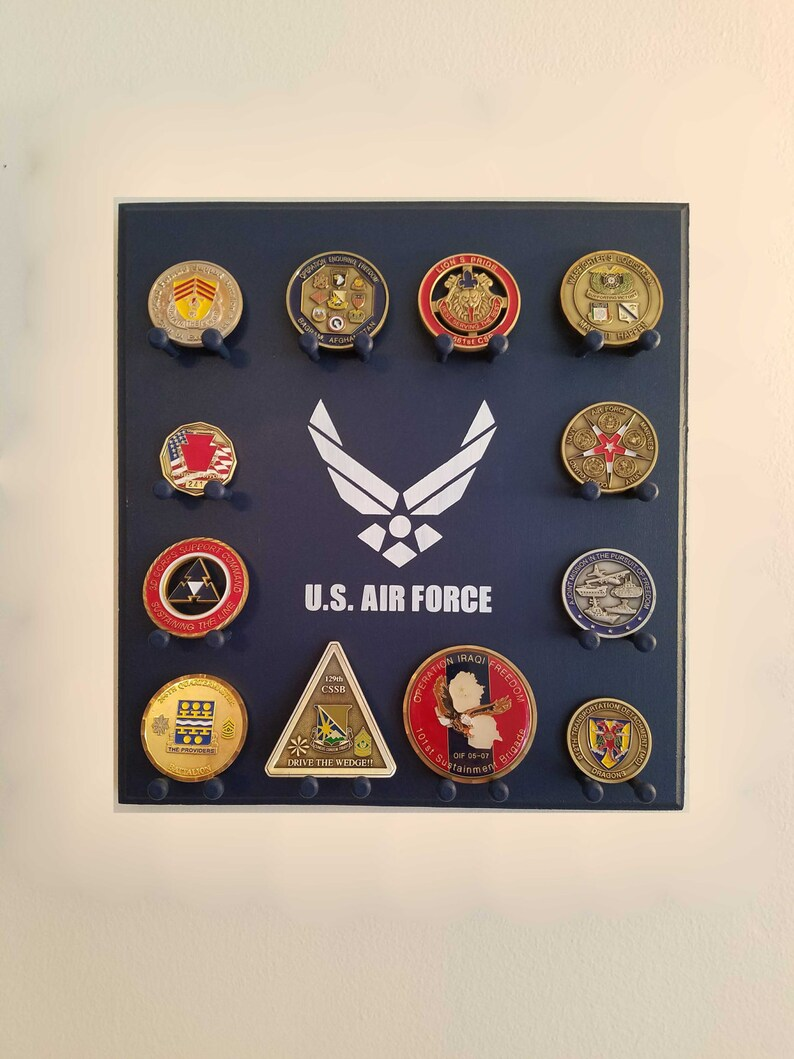 Military Challenge Coin Display Rack - Air Force - Wall-mounted