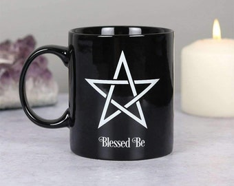 Blessed be witch mug, wiccan gifts, witchy coffee cup, pentacle cup, kitchen witch, green witch, witch cup, pagan mug, coffee and tea cup