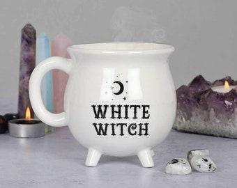 White witch cauldron mug, witchy gifts, witch mug, kitchen witch, wiccan mug, goth homeware, cute One of a kind halloween mug witch