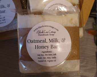 Oatmeal milk and honey scented soap, goats milk handmade soap, Shea butter, vanilla essential oil