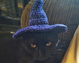 Cat witch hat, cat wizard hat, hats for cats, Halloween costume for pets, cat costume, pet costume, cat hat
