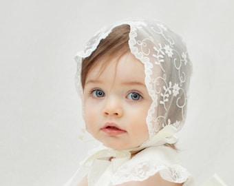 Lace Christening Bonnet -  Baptism Bonnet - Lace Bonnet - Ivory Bonnet - Christening Bonnet Baby Baptism Bonnet - Ava Sheer Lace Bonnet