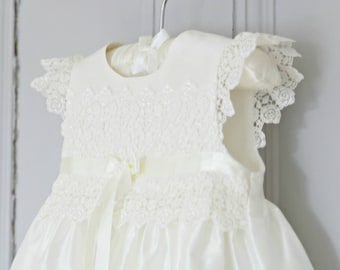 Christening Gown - Baptism Gown - Christening Dress - Baby Girl Baptism Dress - Blessing Gown - Lace Gown - Rachel Silk Christening Gown