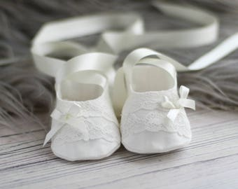 9fdae5f10f579 Christening Booties - Coco Baptism Booties - Christening Shoes - Baptism  Shoes - Baby Shoes - Girls Christening Shoes - Girls Baby Booties