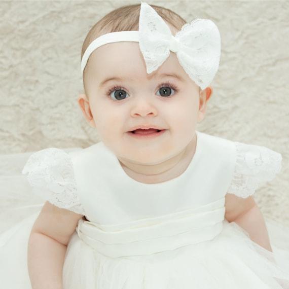 Battesimo Battesimo matrimonio fiocco fatto a mano Cerchietto in pizzo avorio Fascia Per Capelli Fiocco Baby