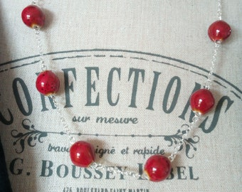 1461 - red, handcrafted ceramic beaded necklace