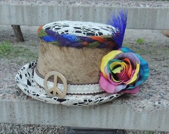eac937a45d5007 Top Hat, Velvet Top Hat, Bohemian Hippie Hat, Hippie Top Hat, Boho Top Hat,  Psychedelic Hat, Tie Dye hat, Crochet Hat, Velvet Hat