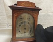 Early 1900s Kienzle Mahogany Mantel Clock Bracket Clock Hand Painted With Westminster Striking mechanism German Made.