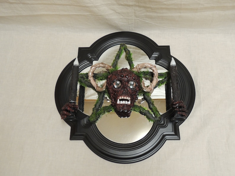 Skull Horns Pentagram Mount Faux Taxidermy Candelabra. Pentacle Wall Art Skull Wall Hanging Oddity Macabre Candle Holder Wall Mount