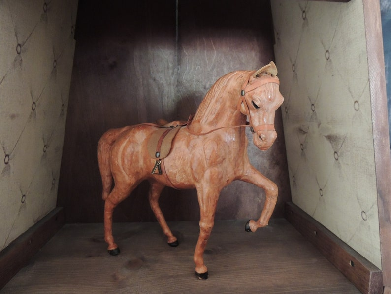 Leather Horse Early 1900s Figure Statue sculpture.