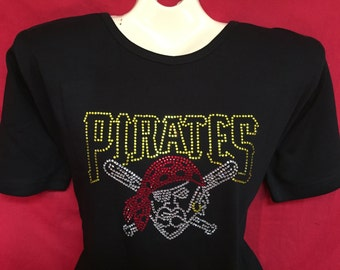 bc403c76314 Pittsburgh Pirates Rhinestone crystal womens baseball shirt. SHORT LONG  Sleeve Misses S, M, L, XL, Plus size 1x, 2X, 3X shirts