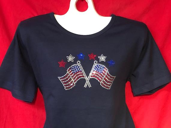 New Rhinestone American Flag Heart Junior/'s Black Tank Top shirt USA Bling US