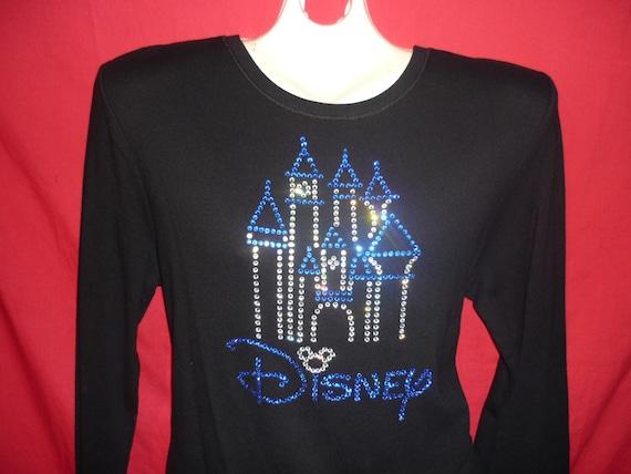 ed941b1ed64 Disney World Castle Rhinestone crystal womens shirt. Mickey