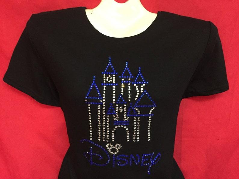 7609c72397c Disney World Castle Rhinestone crystal womens shirt mickey