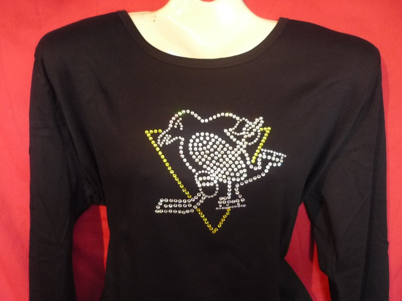 reputable site 507fd 86f0d Pittsburgh Penguins Rhinestone crystal women's Penguins Classic Logo. SHORT  or LONG Sleeve Misses S, M, L, XL, Plus size 1x, 2X, 3X shirts