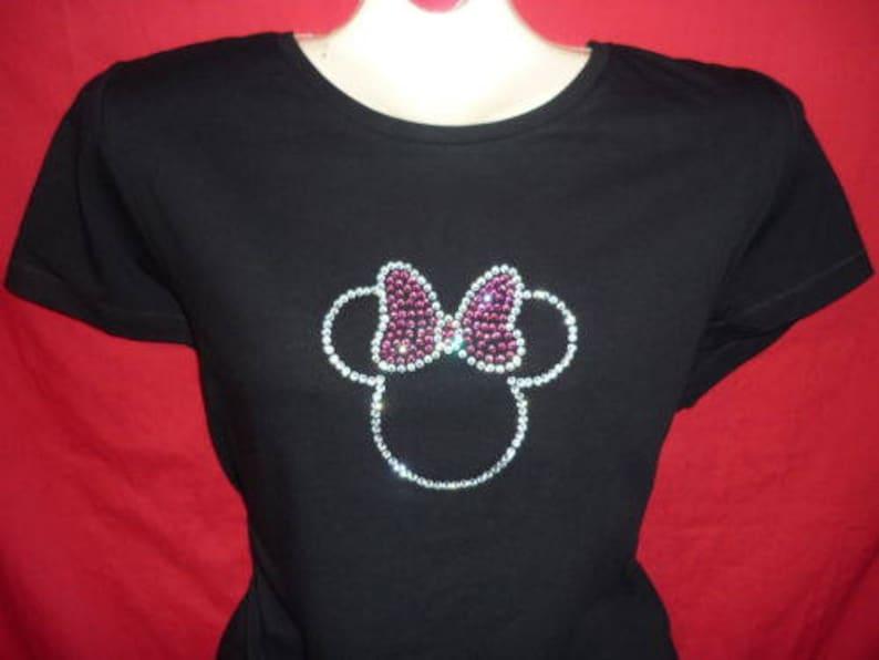 a801a6411 Minnie Mouse Pink Bow Disney Rhinestone crystal womens shirt | Etsy
