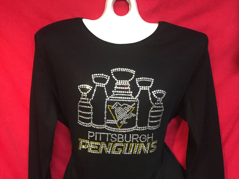online retailer 01880 2065c Pittsburgh Penguins Rhinestone crystal women's five stanley cup LONG SLEEVE  Misses S, M, L, XL, Plus size 1x, 2X, 3X shirts