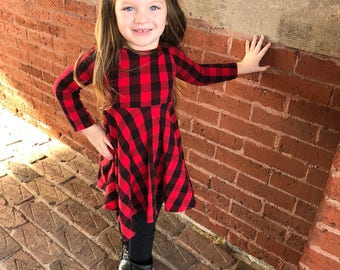 aac62d7872b Spring dress - girls valentines day dress - toddler plaid dress - checkered  dress - Red and Black Buffalo plaid dress - twirl dress