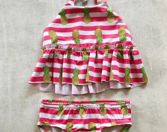 1c256f10cae93 Pink and pinapples halter style girls two piece bathing suit, vintage  stripe swimsuit, summer fruit swimwear, gift for girls, boho style