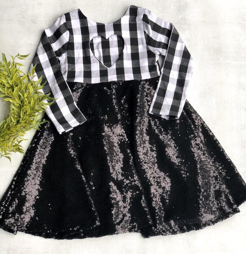 Christmas dress family pictures party dress holiday dress Black and white buffalo plaid sequins dress flower girl dress