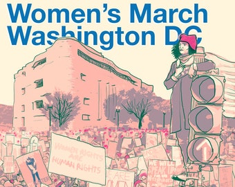 Women's March in Washington DC - Postcards from Washington DC - Resist print, Women's Rights, Feminist gift, Protest souvenir, Art activism