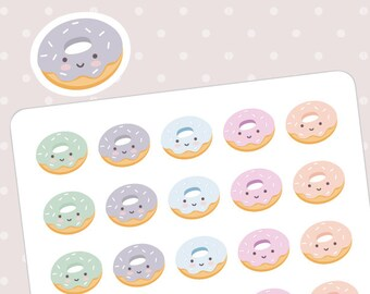 Cute rainbow donuts planner stickers - 35 kawaii stickers for Happy planner, Erin Condren, Filofax, Midori, Kikki K and Webster's Pages