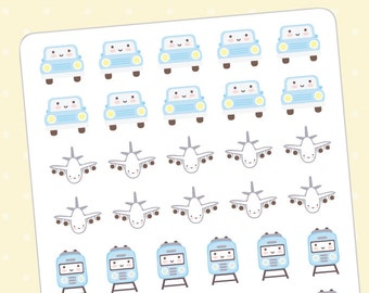 Kawaii transportation planner stickers - 42 cute planner stickers kawaii - Vehicles, planes, Train, bus