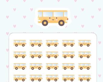 Kawaii bus school bus planner stickers - 45 cute planner stickers kawaii