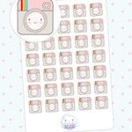 Cute Instagram planner stickers - 35 kiss cut kawaii tiny pink vintage camera, Cute social media, photography