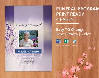 funeral program template memorial obituary template etsy