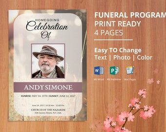 Printable Funeral Program Template Memorial Service