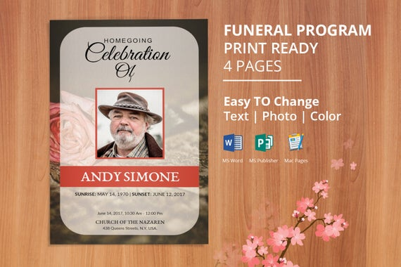 floral funeral program template memorial program template etsy