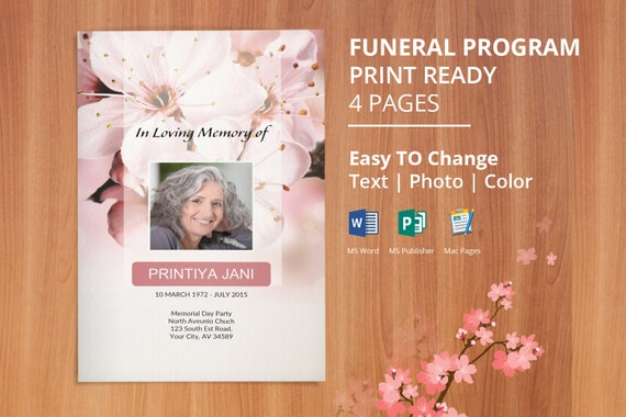 Funeral Program Template Memorial Obituary