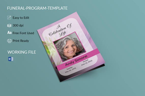 funeral program template word memorial program obituary etsy