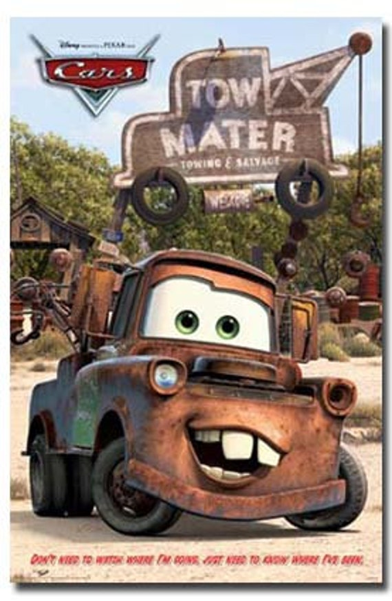 Cars Movie Poster Mater Rare Hot New 24x36 Etsy