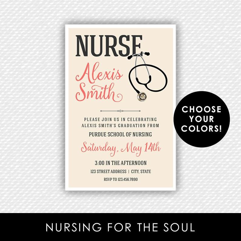 graphic relating to Nurse Graduation Invitations Printable referred to as Nurse Invitation - Nurse Commencement Invitation - Nurse Stethoscope Invite - Nursing College Commencement - RN - LPN - Nurse Invite